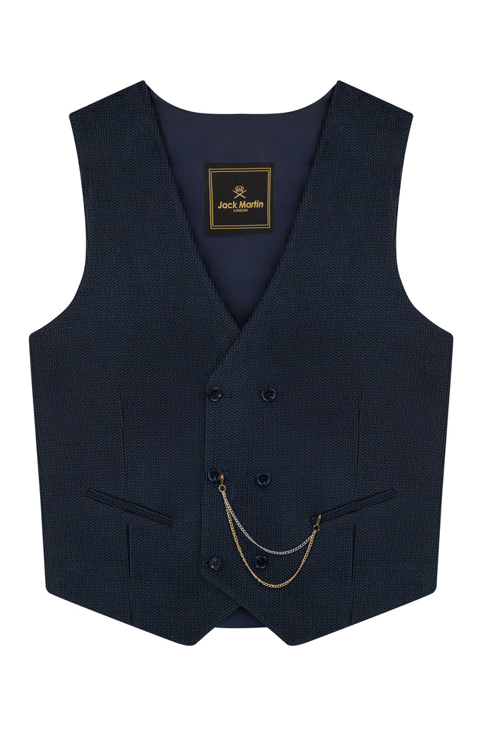 Navy Corduroy Wool Double Breasted Waistcoat