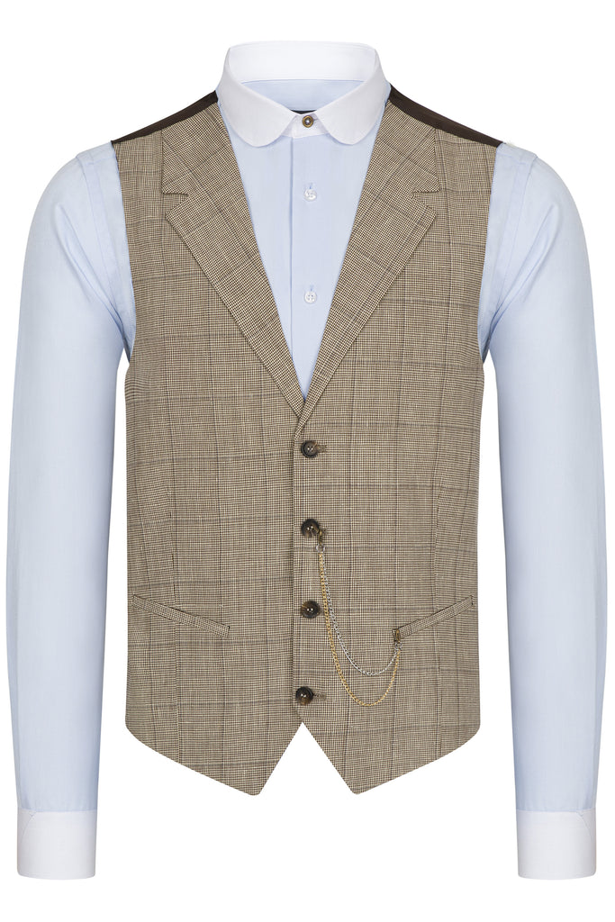 Brown & Cream Houndstooth Check Collared Wool Waistcoat
