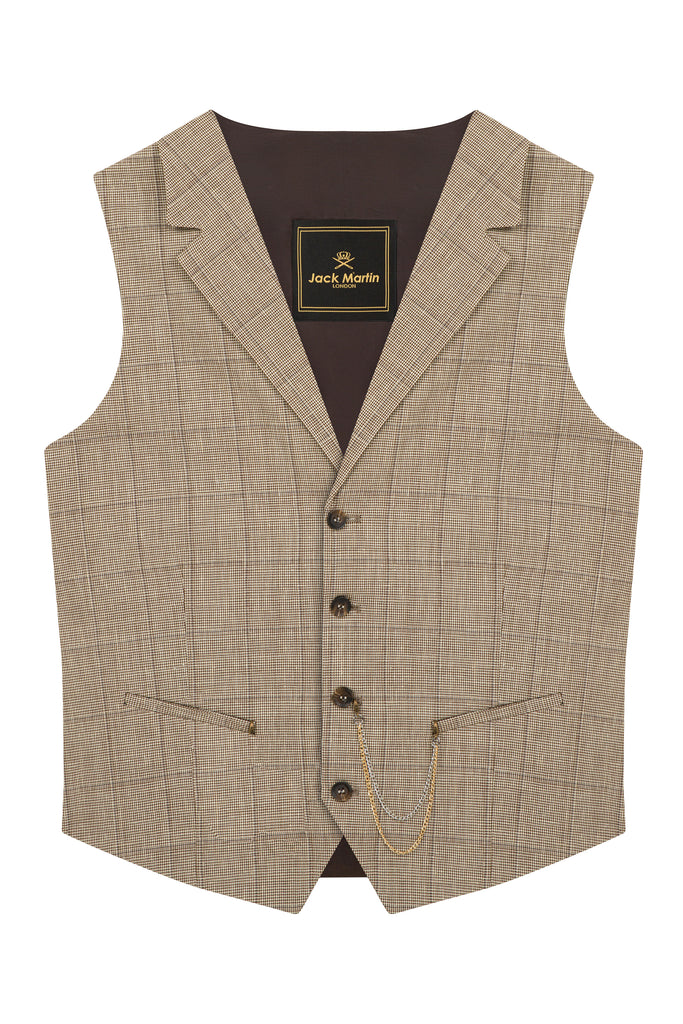 Brown & Cream Houndstooth Check Collared Wool Waistcoat - Jack Martin Menswear