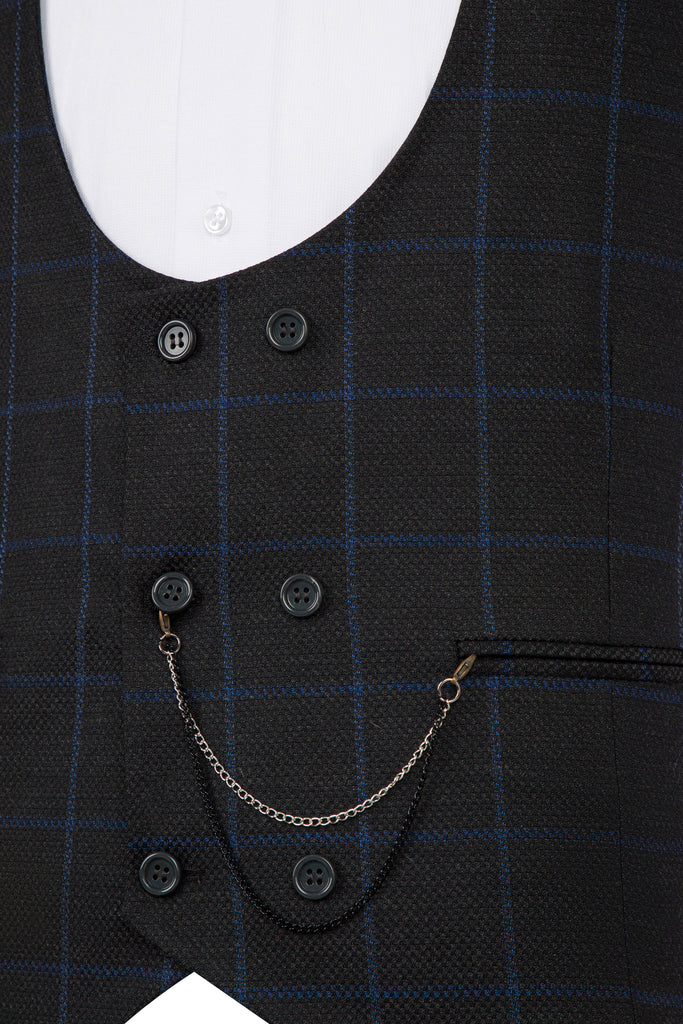 ARTHUR - Ash Grey Check Double Breasted Suit Waistcoat