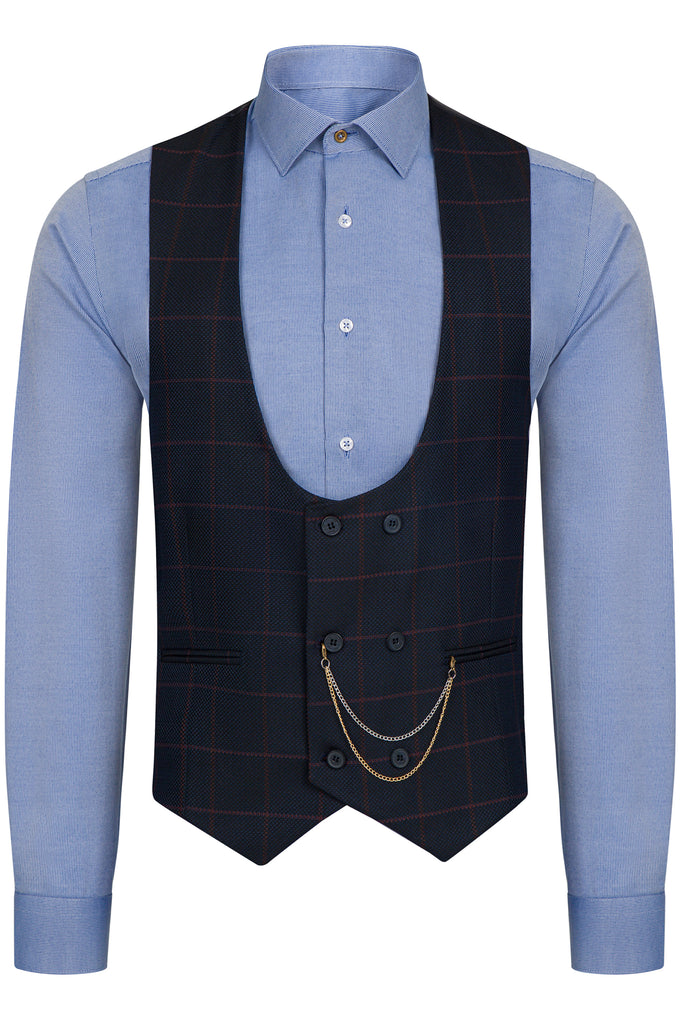 ARTHUR - Navy Check Double Breasted Suit Waistcoat