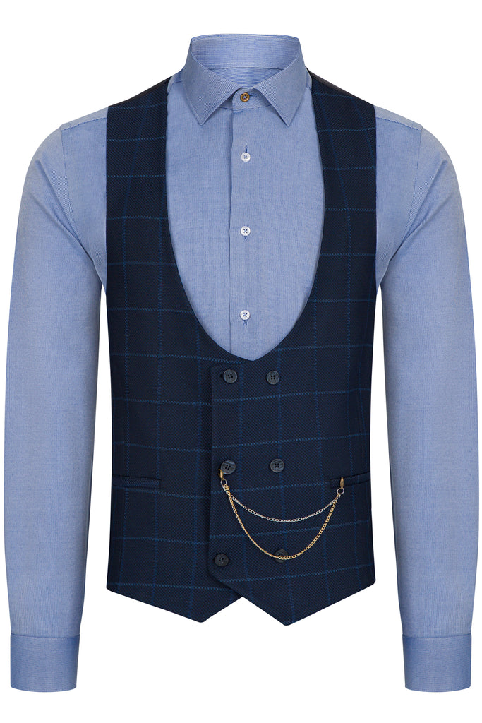 ARTHUR - Blue Check Double Breasted Suit Waistcoat
