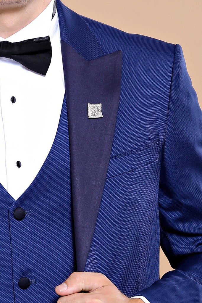 Ink Blue Dobby 3 Piece Dinner Suit / Tuxedo