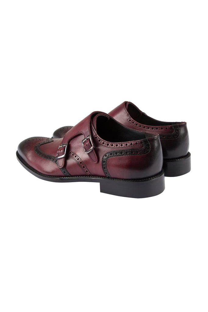 BLAKE - Burgundy Handmade Burnished Leather Double Monk Strap Shoes - Jack Martin Menswear