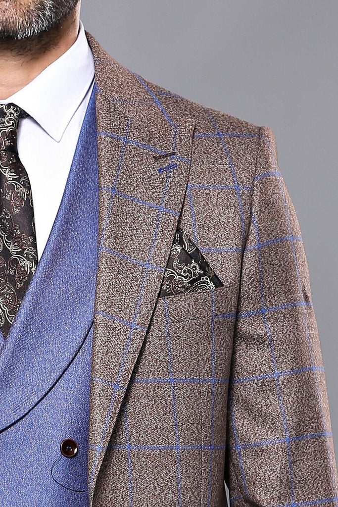 Brown Textured Check 3 Piece Suit with Contrast Blue Waistcoat