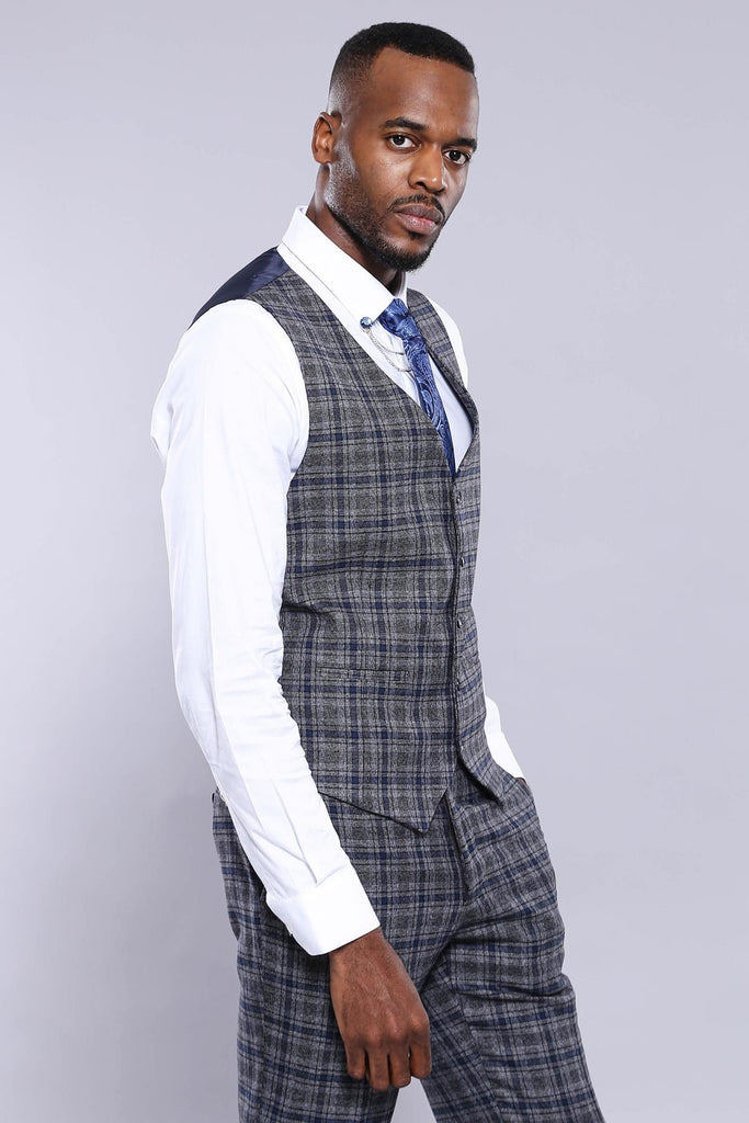 Grey & Blue Check 3 Piece Suit