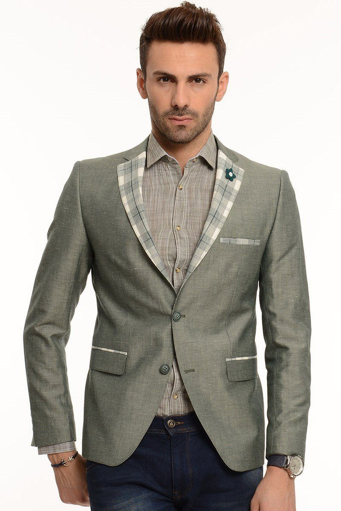 Dark Green Cotton Slim Fit Blazer with Check Lapel - Jack Martin Menswear