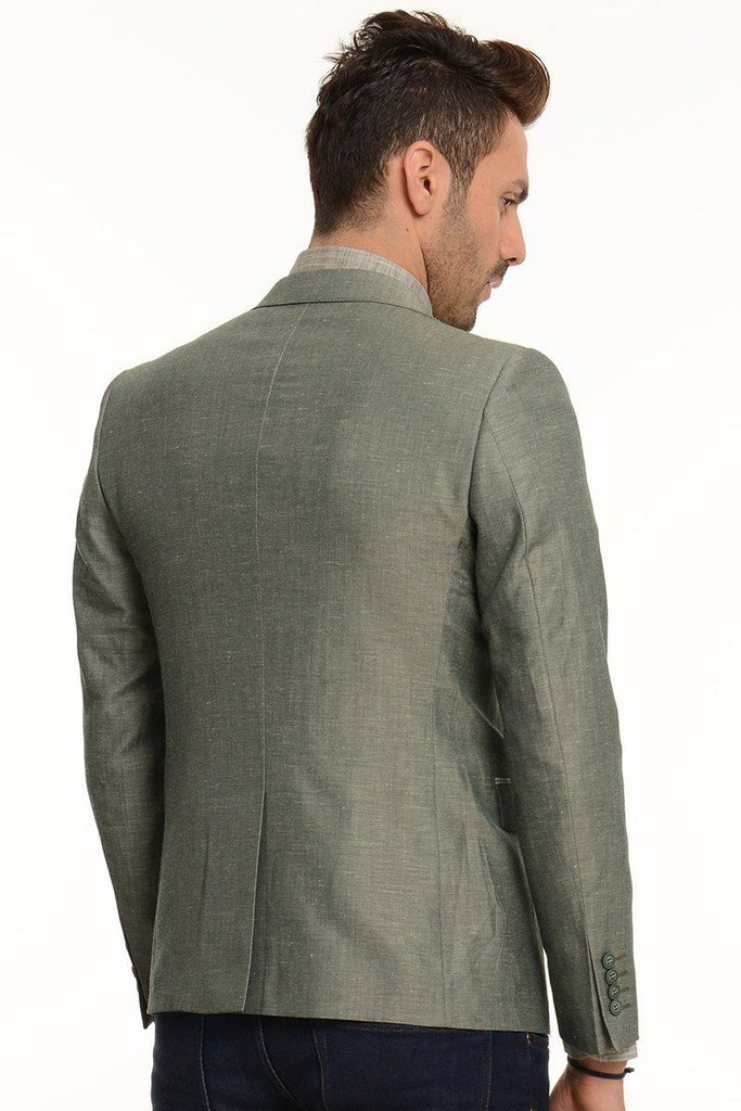 Dark Green Cotton Slim Fit Blazer with Check Lapel