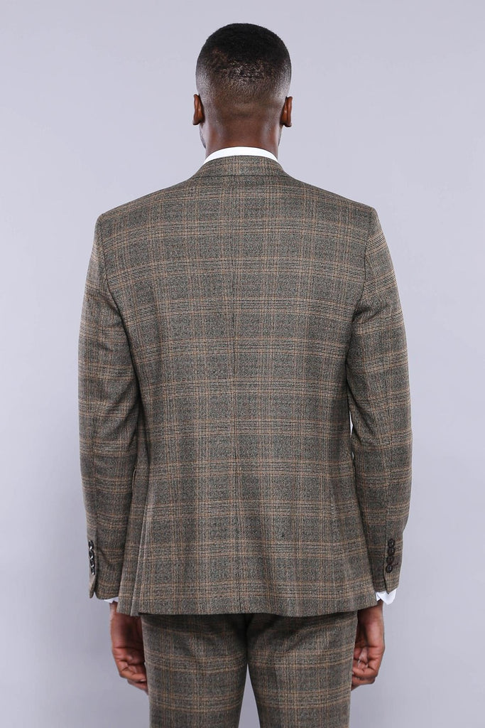 Brown Prince of Wales Check 3 Piece Suit