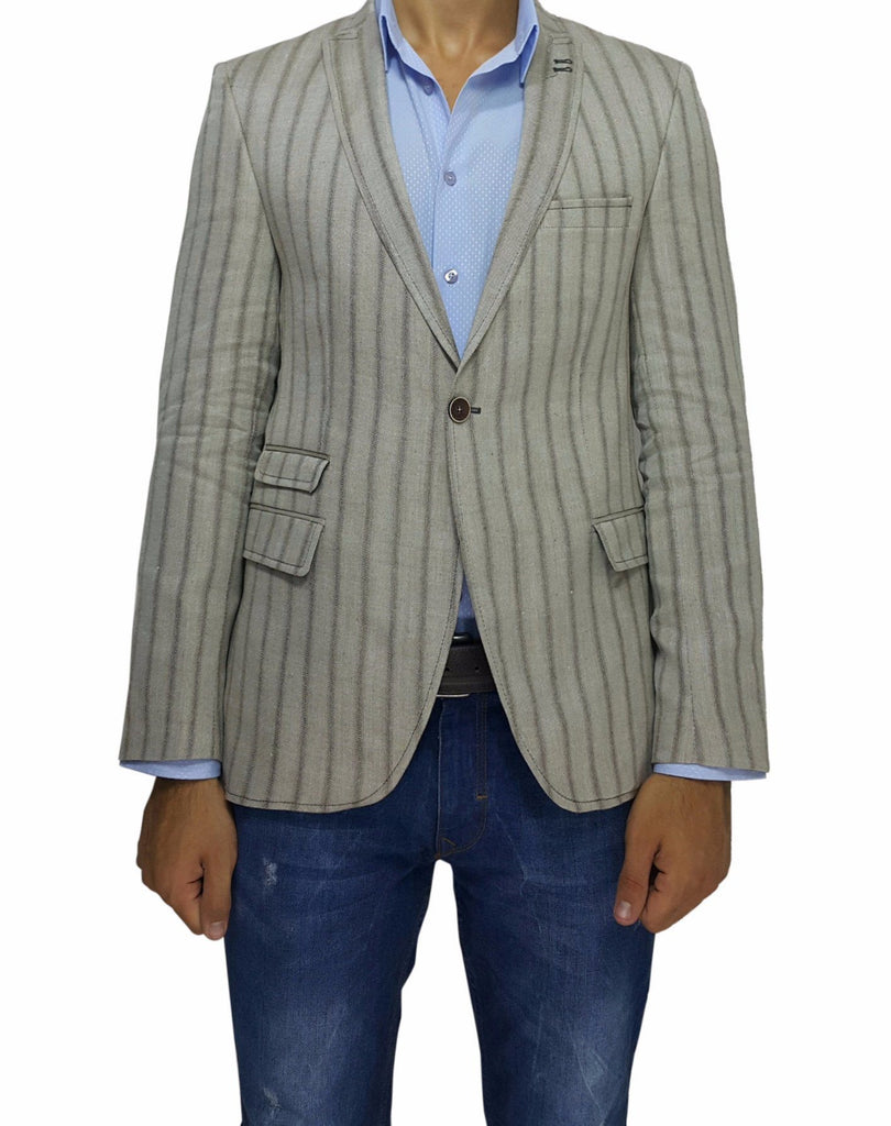 Brown Stripe Peak Lapel Slim Fit Blazer