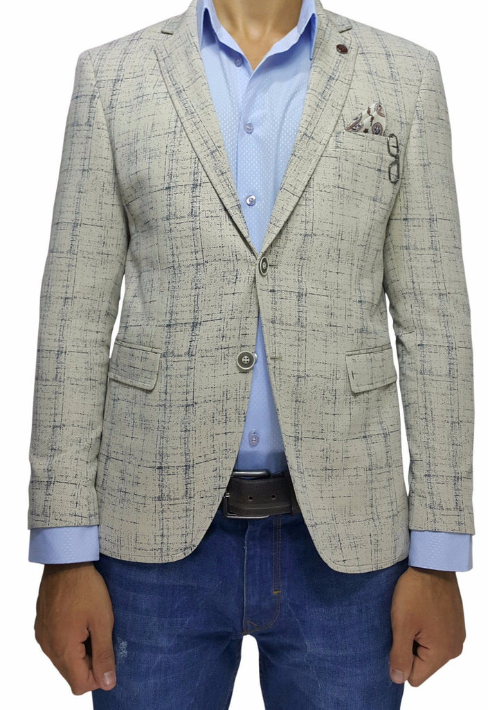 Cream Cotton Jersey Slim Fit Blazer