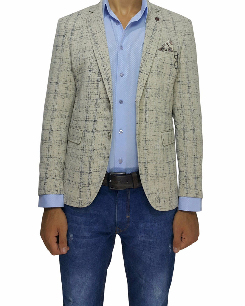 Cream Cotton Jersey Slim Fit Blazer - Jack Martin Menswear