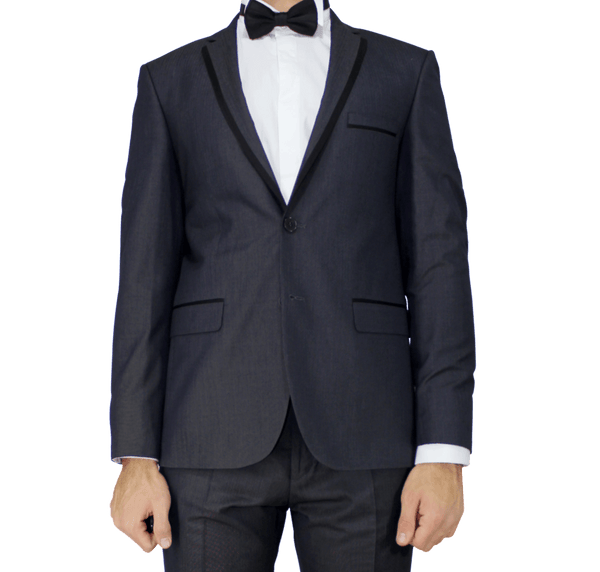 Dark Grey Birdseye Slim Fit Suit with Trimmed Lapel