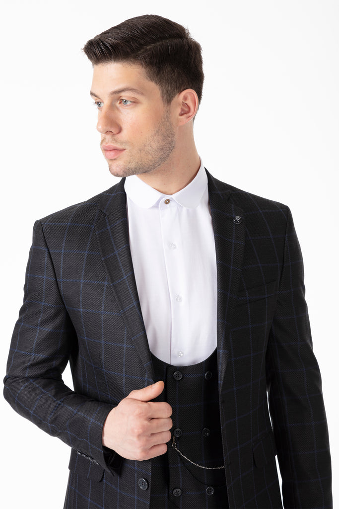 ARTHUR - Ash Grey Check Tailored Fit 3 Piece Suit - Jack Martin Menswear