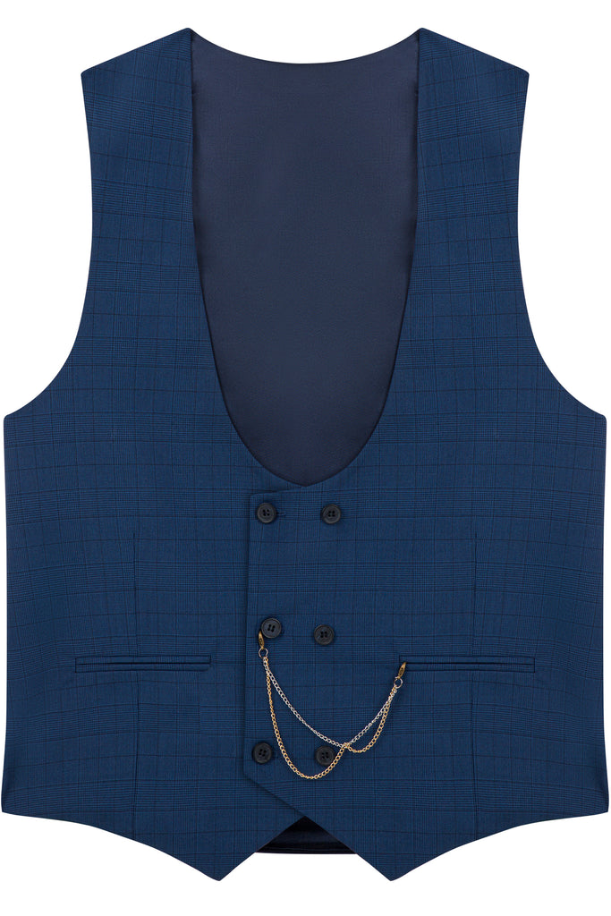 HENRY - Navy Blue Prince of Wales (Glen) Check Double Breasted Suit Waistcoat