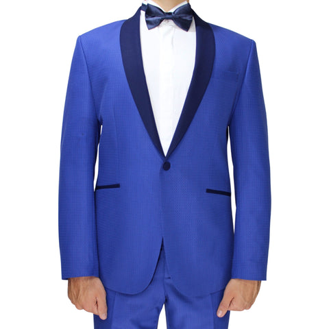 Bright Blue Semi-Slim Fit Patterned Suit with Shawl Collar