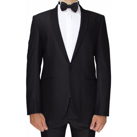 Black Semi-Slim Fit Patterned Suit with Shawl Collar