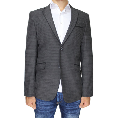 Heather Grey Pure Wool Semi-Slim Fit Blazer
