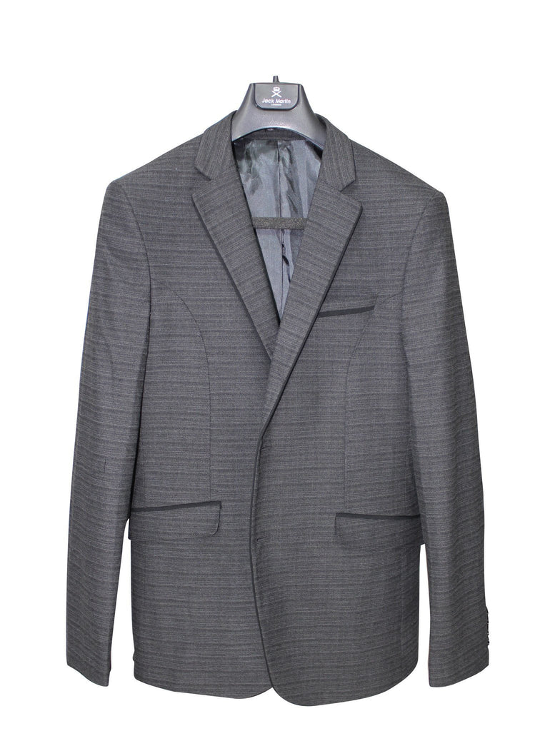 Heather Grey Pure Wool Semi-Slim Fit Blazer - Jack Martin Menswear