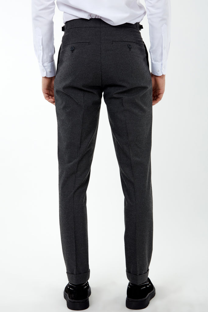LAGUNA - Grey Pleated Flannel Trousers