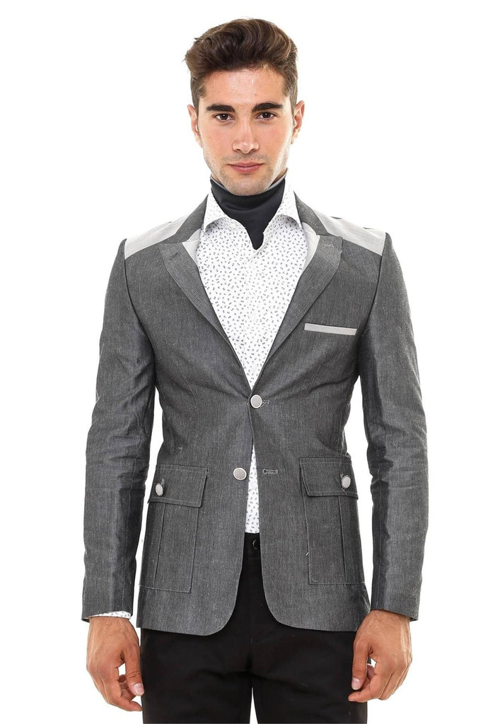 Grey Cotton Slim Fit Blazer with Shoulder Details - Jack Martin Menswear