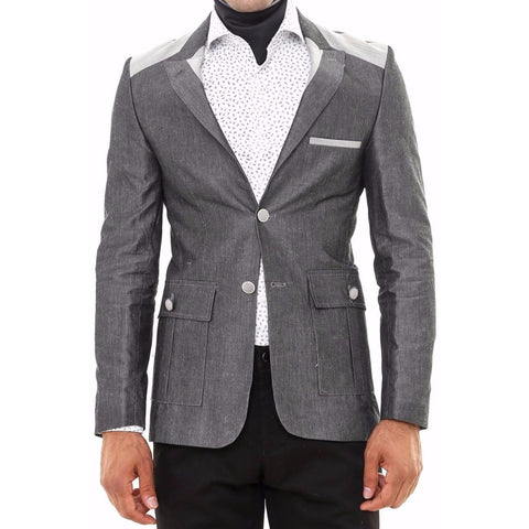 Grey Cotton Slim Fit Blazer with Shoulder Details