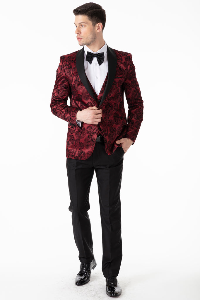 Red Paisley Printed Velvet 3 Piece Suit / Tuxedo - Jack Martin Menswear