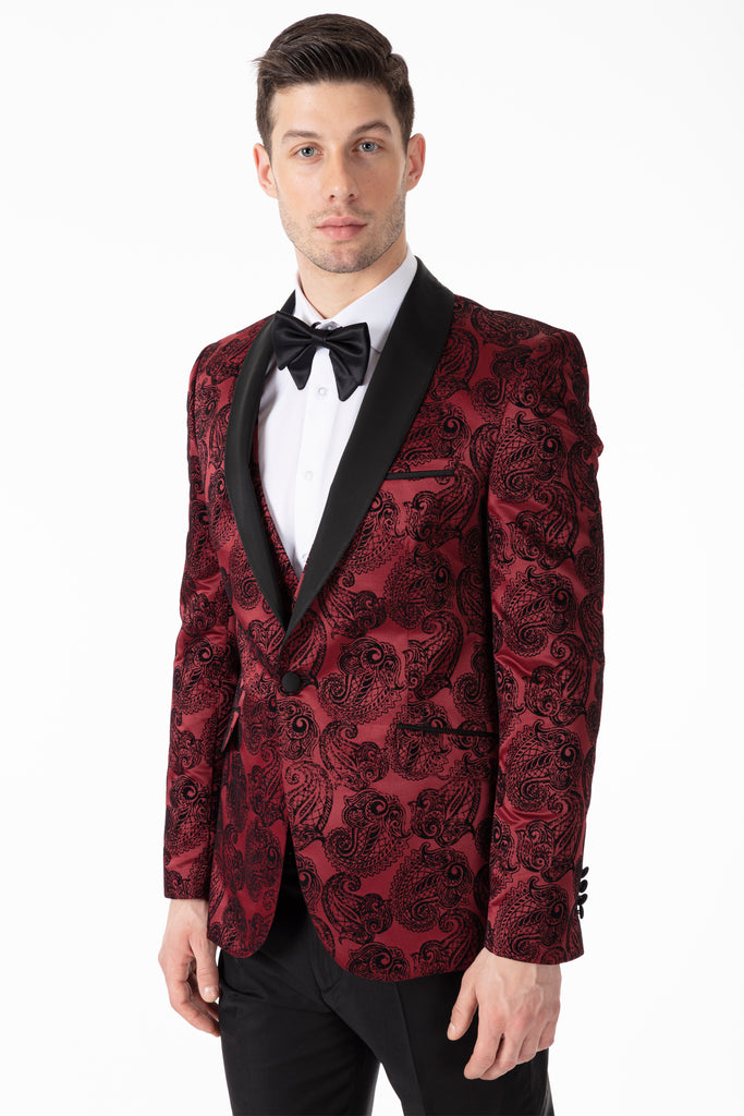 Red Paisley Printed Velvet Dinner / Tuxedo Jacket - Jack Martin Menswear
