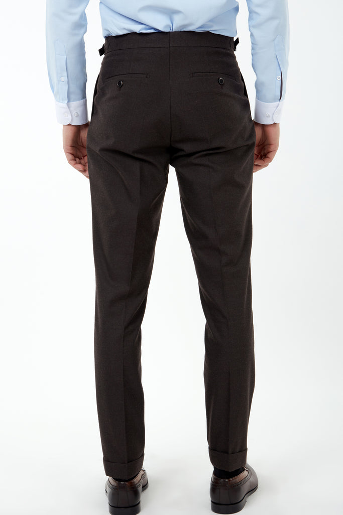 LAGUNA - Brown Pleated Flannel Trousers