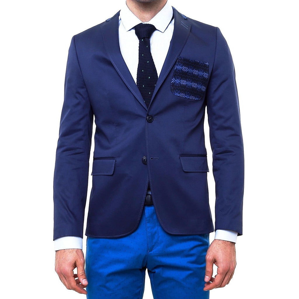 Navy Cotton Slim Fit Blazer with Neck & Pocket Details - Jack Martin Menswear