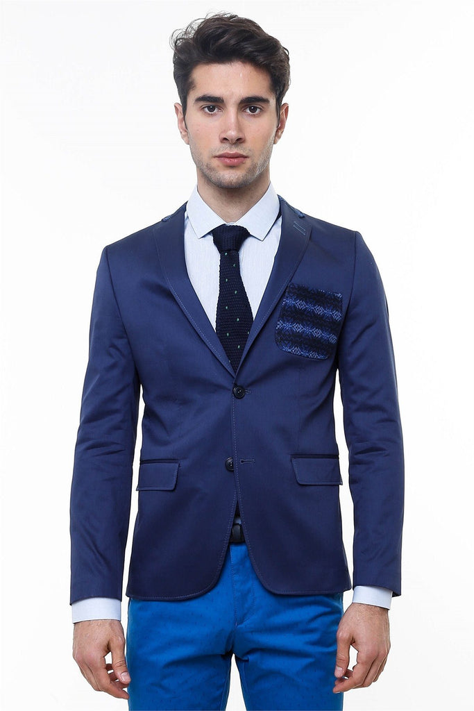 Navy Cotton Slim Fit Blazer with Neck & Pocket Details