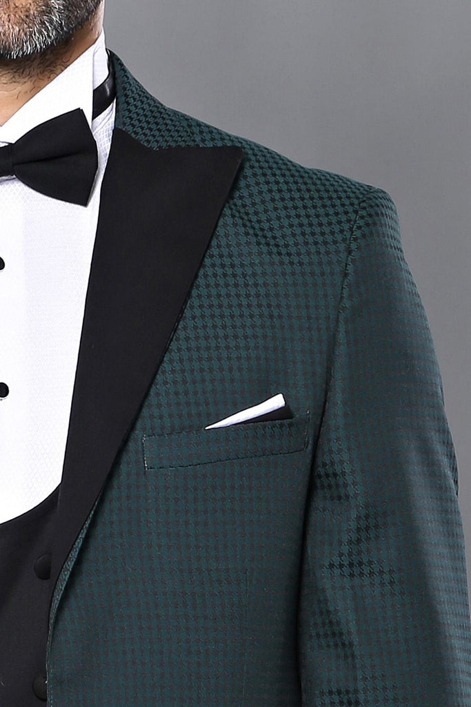 Green Houndstooth 3 Piece Dinner Suit / Tuxedo with Removable Black Lapel