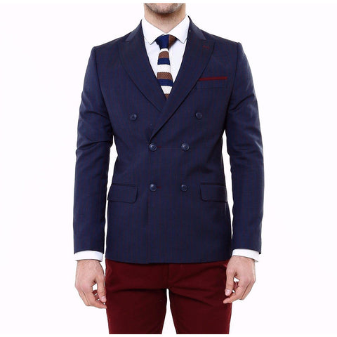 Navy Double-Breasted Pinstripe Slim Fit Blazer