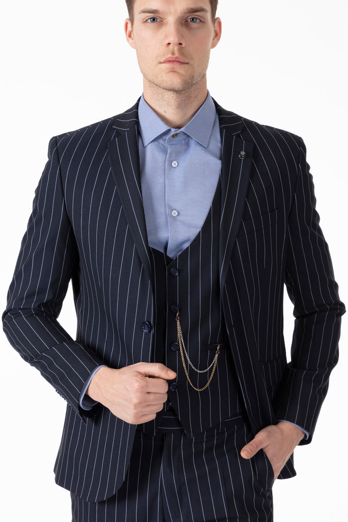 JAY - Navy Chalk Stripe 3 Piece Semi Slim Fit Suit - Jack Martin Menswear