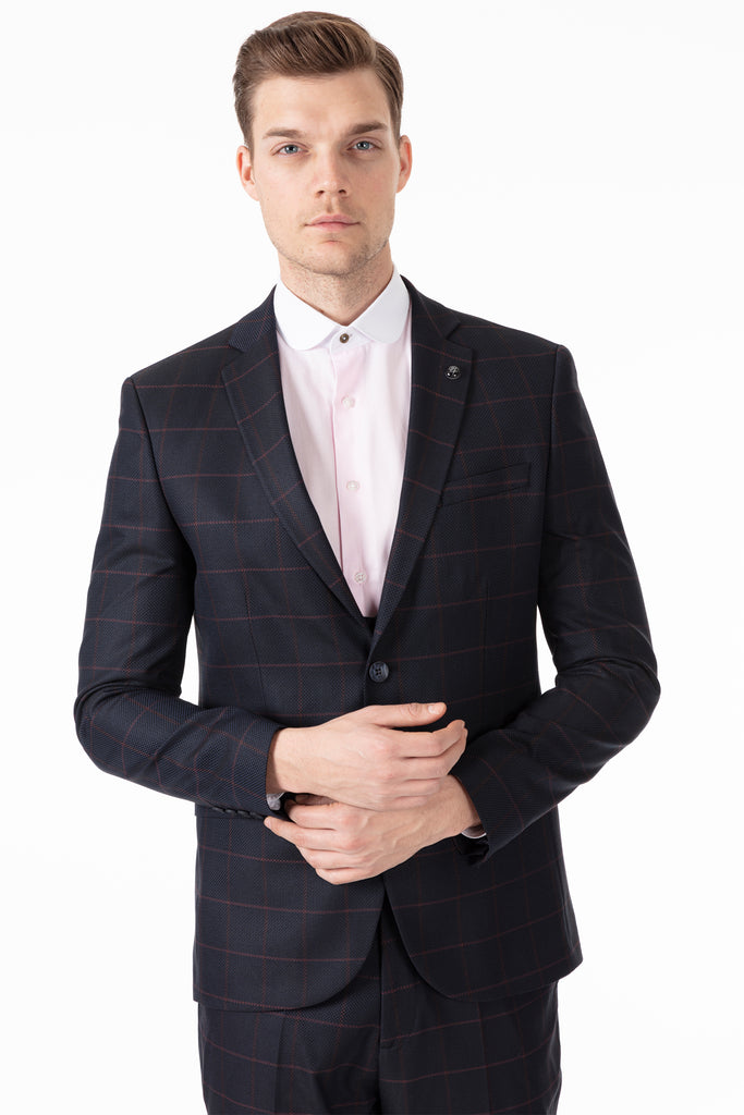 ARTHUR - Navy Check Tailored Fit 3 Piece Suit - Jack Martin Menswear