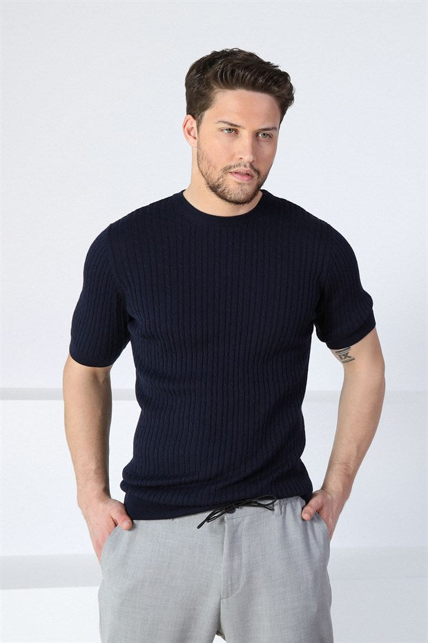 ALEX - Navy Knitted T-Shirt in Braided Pattern