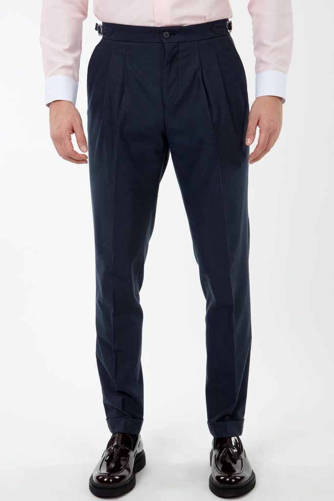 LAGUNA - Heather Navy Pleated Flannel Trousers