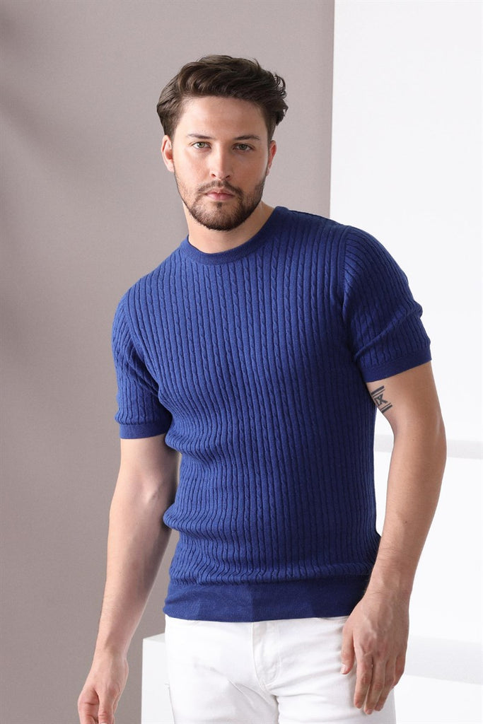 ALEX - Royal Blue Knitted T-Shirt in Braided Pattern