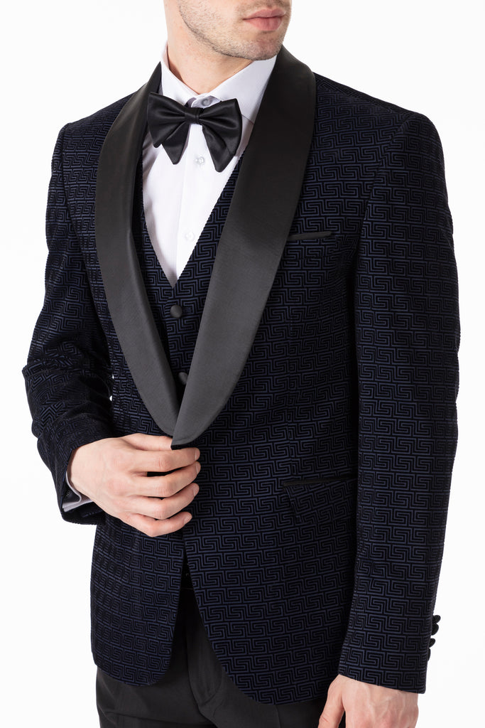 LEO - Midnight Blue Geometric Printed Velvet Dinner / Tuxedo Jacket - Jack Martin Menswear