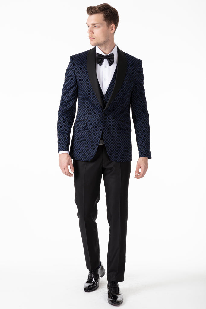 Midnight Blue Diamond Printed Velvet 3 Piece Suit / Tuxedo - Jack Martin Menswear