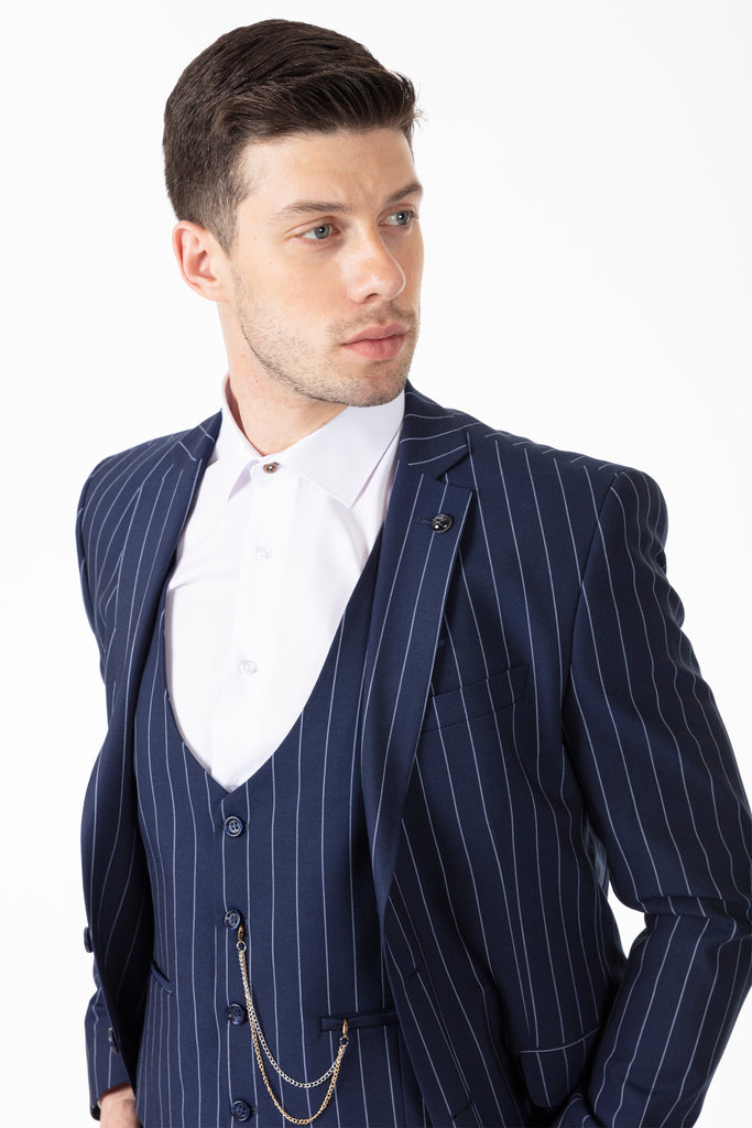 JAY - Blue Chalk Stripe 3 Piece Semi Slim Fit Suit - Jack Martin Menswear