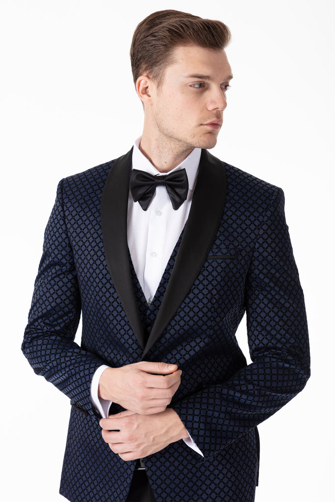 Midnight Blue Diamond Printed Velvet Dinner / Tuxedo Jacket - Jack Martin Menswear