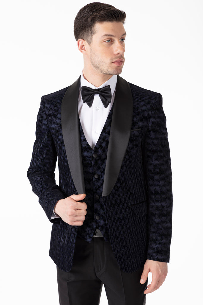 LEO - Midnight Blue Geometric Printed Velvet Dinner / Tuxedo Suit - Jack Martin Menswear