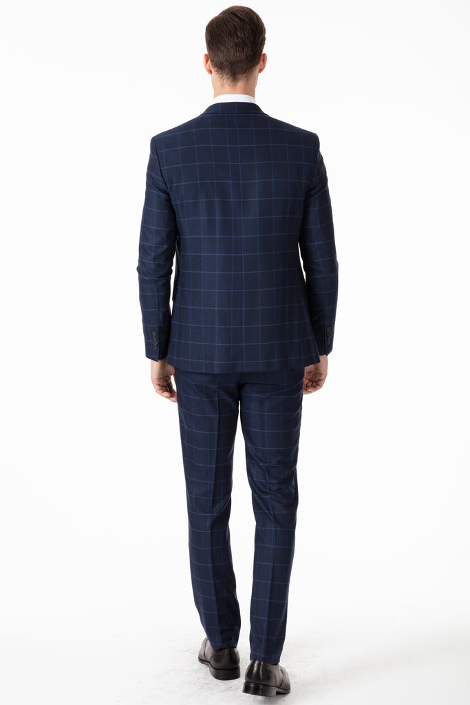 ARTHUR - Blue Check Tailored Fit 3 Piece Suit - Jack Martin Menswear