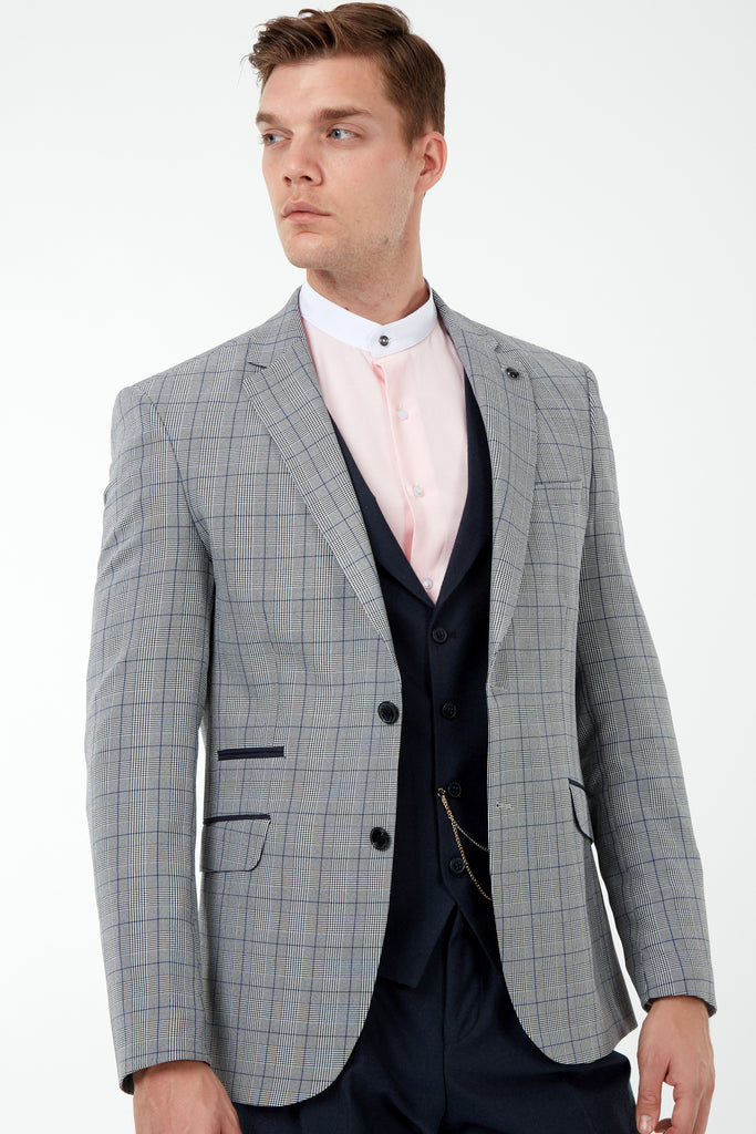 GLEN - Prince of Wales Blue Check Blazer with Suede Pocket Trims