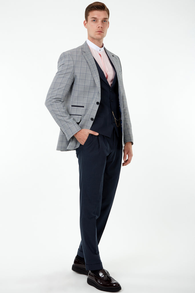 GLEN - Prince of Wales Blue Check 3 Piece Mix & Match with Flannel Trousers & Waistcoat