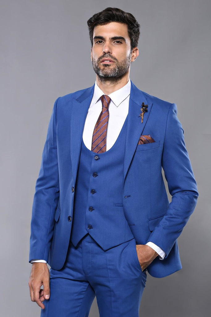 Electric Blue Dobby 3 Piece Suit