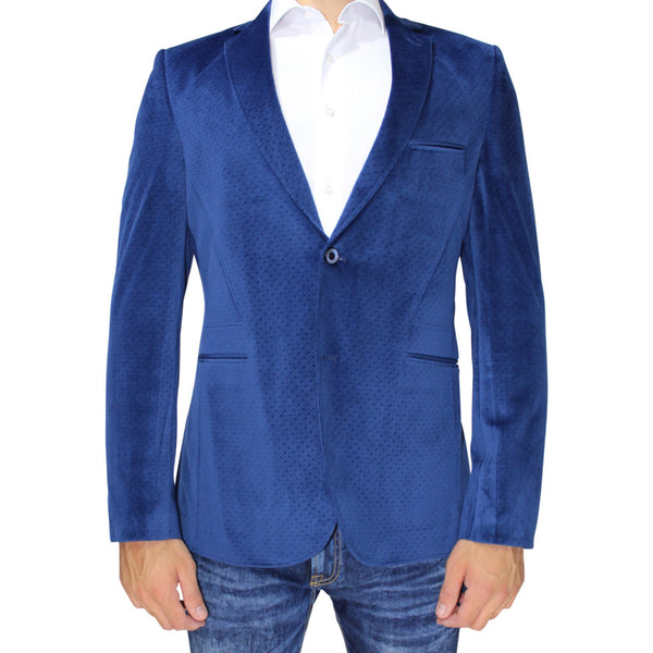 Blue Velvet Slim Fit Blazer with Neck Detail