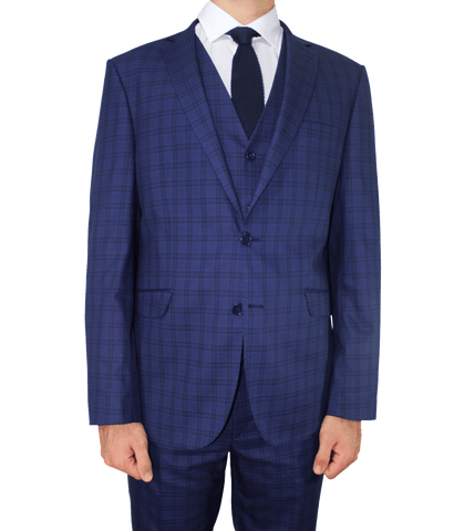Blue Superior Complex Check 3 Piece Semi-Slim Fit Suit