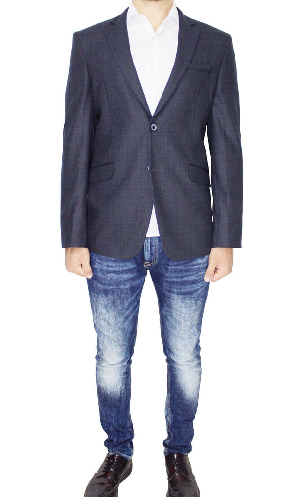 Navy Pure Wool Textured Semi-Slim Fit Blazer - Jack Martin Menswear